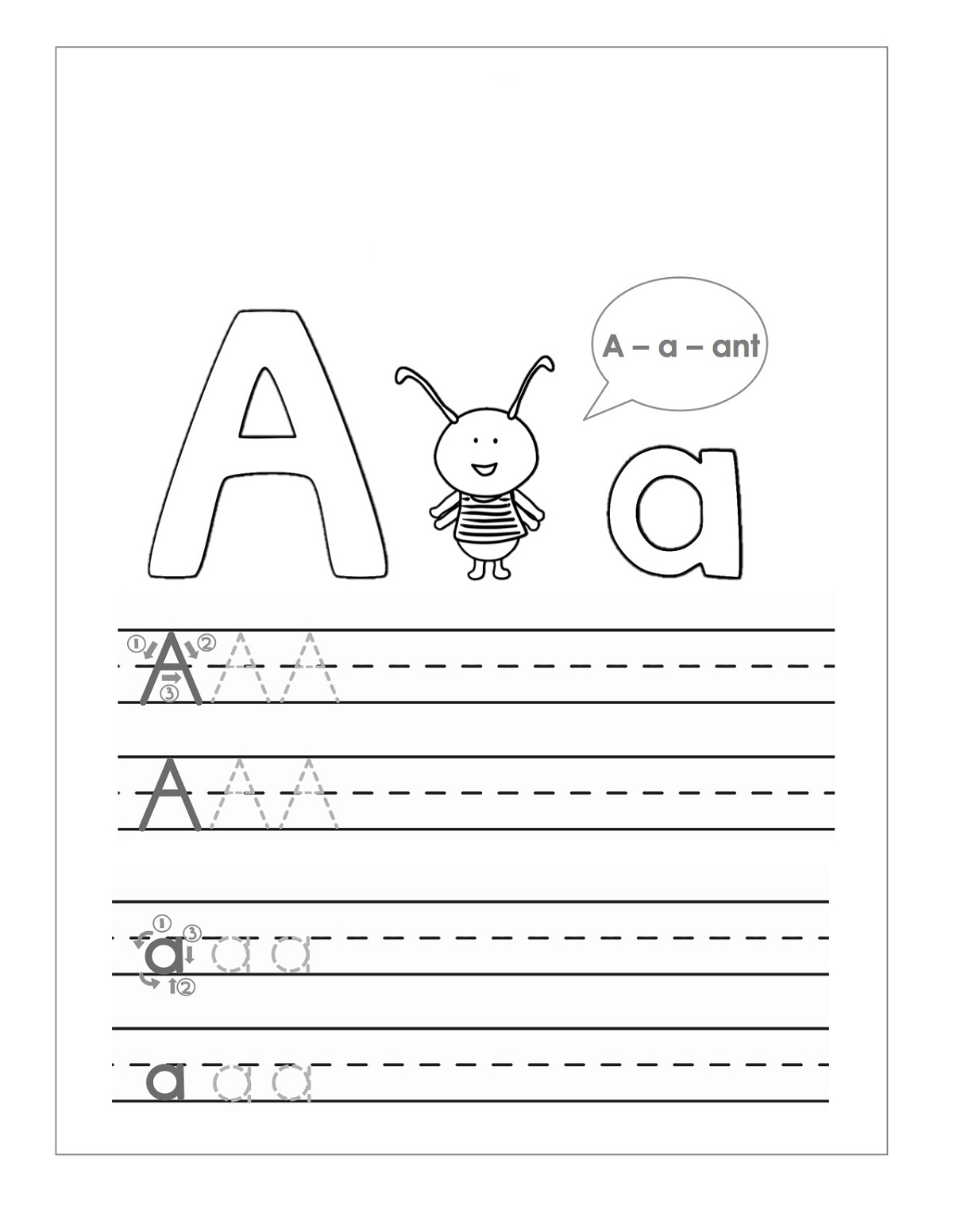 trace the letter a activity