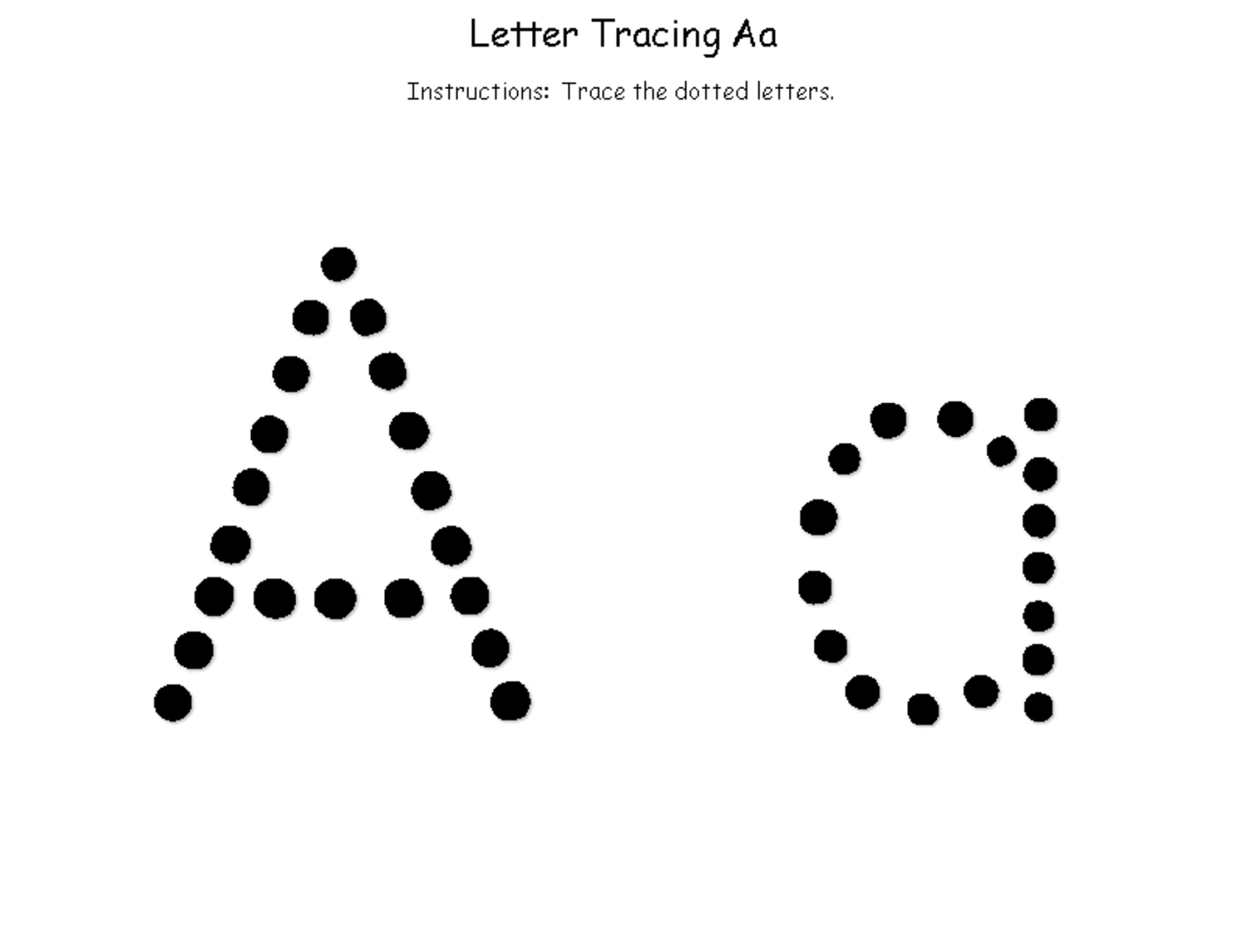 trace the letter a easy