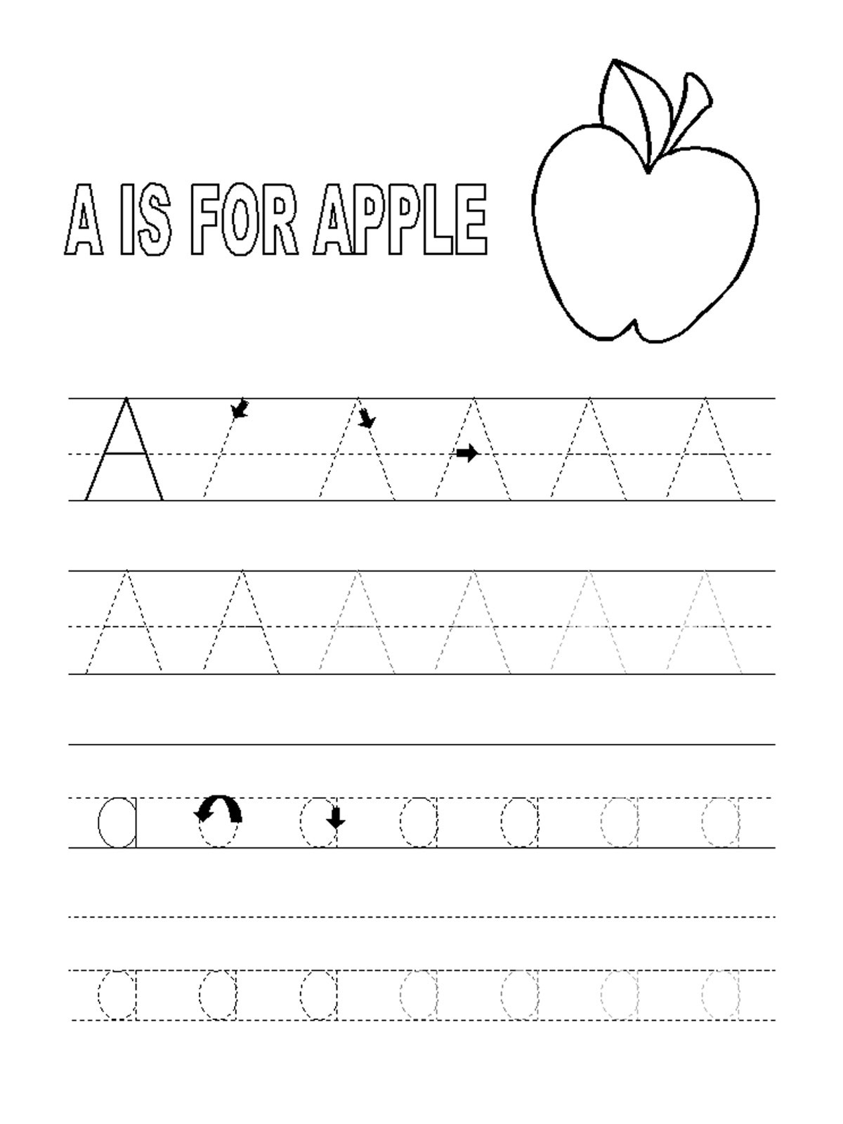trace the letter a practice