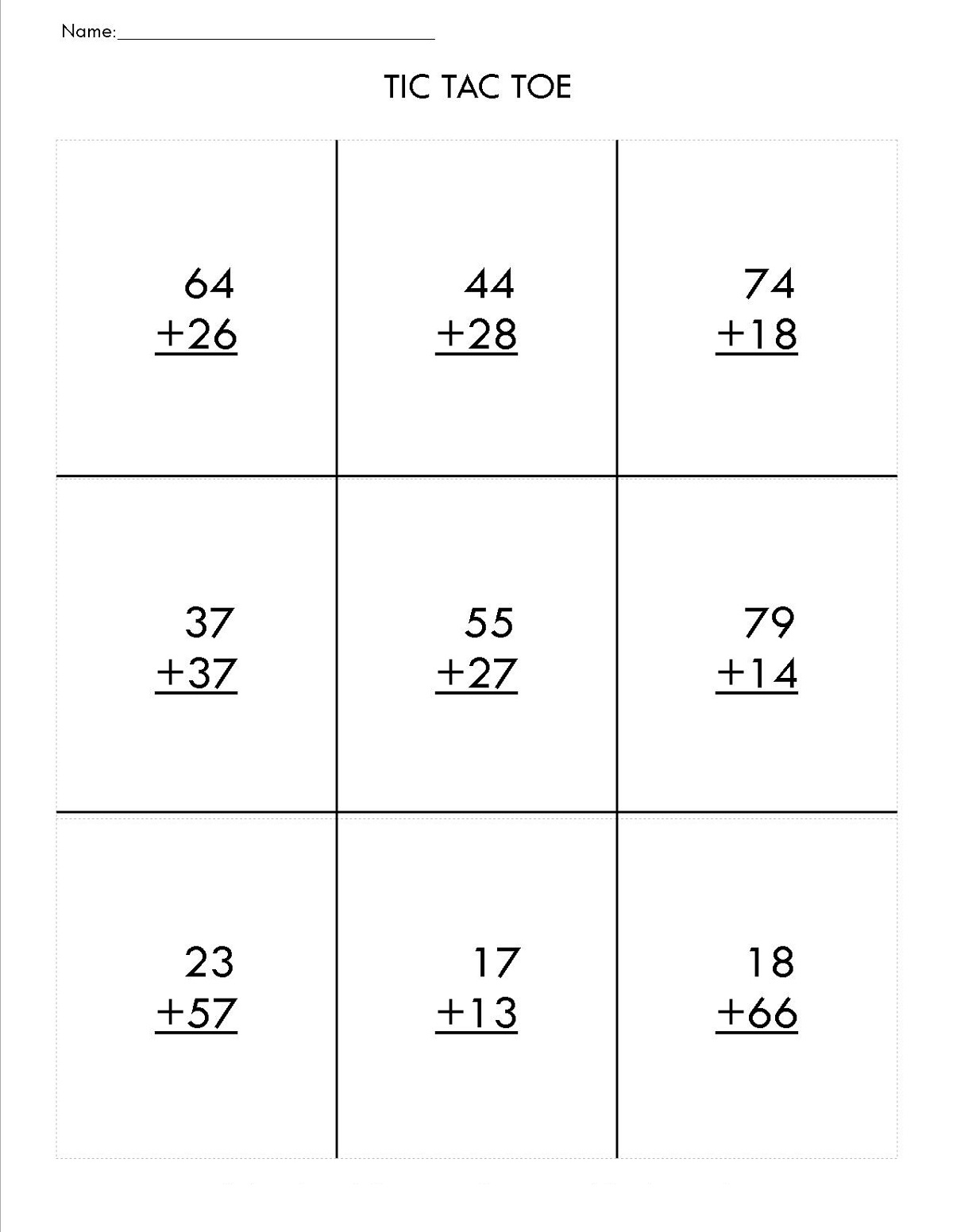 two digit math worksheets page