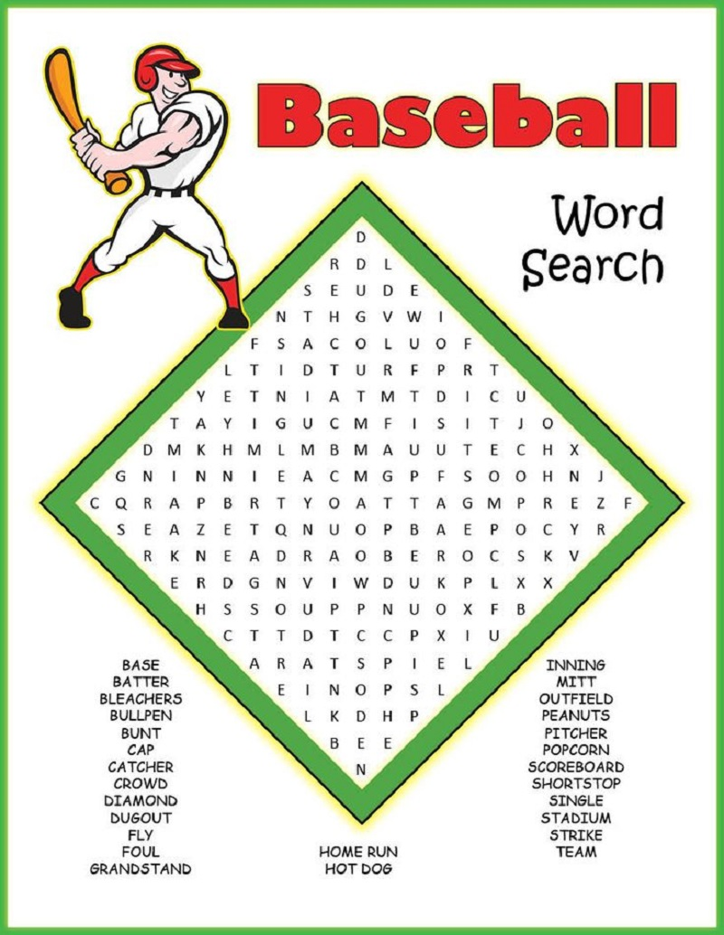 baseball word searches practice