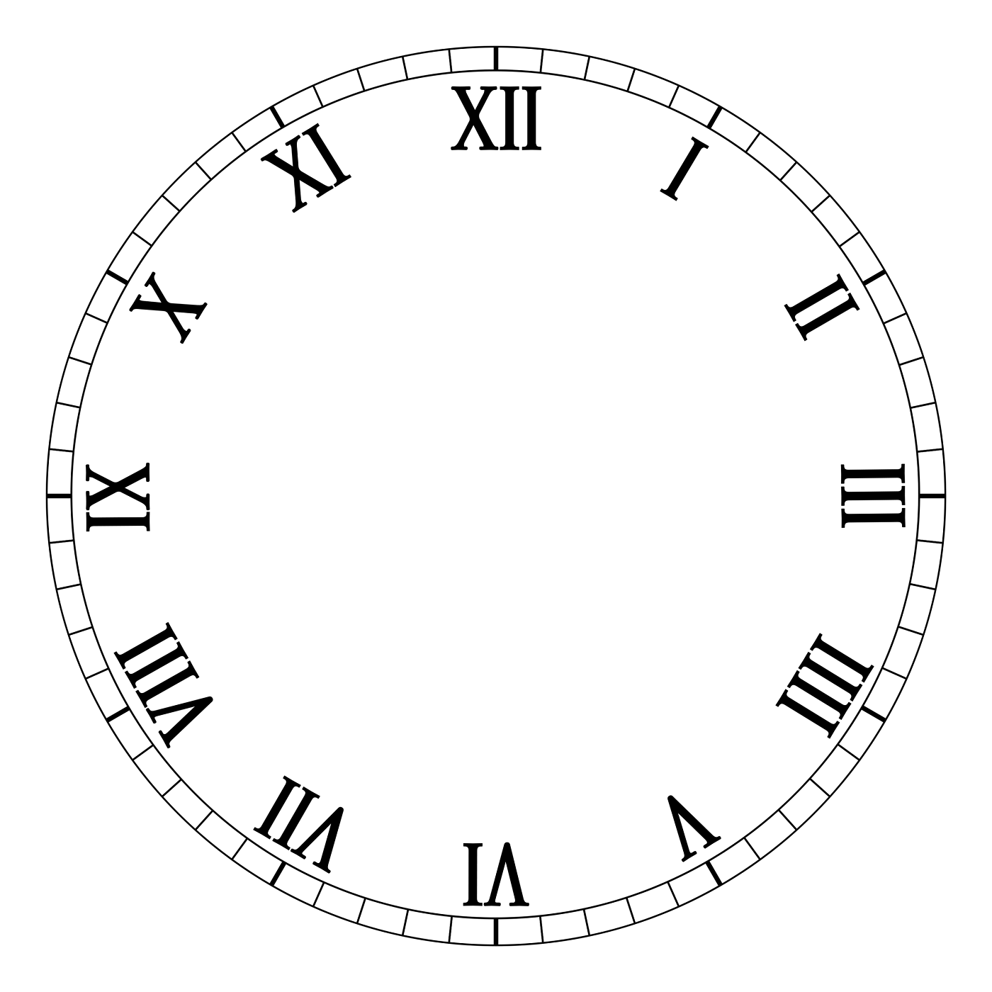 clock face template roman