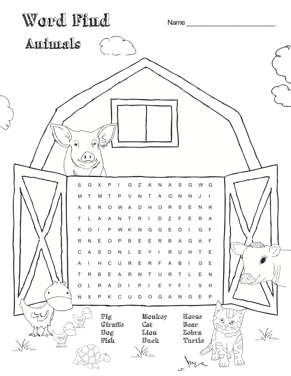 farm animal word search page