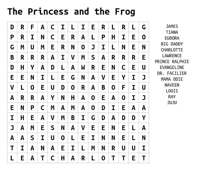 frog word search fun