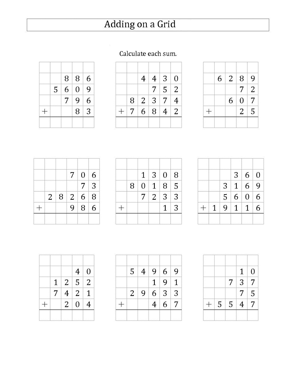math grids worksheets activity