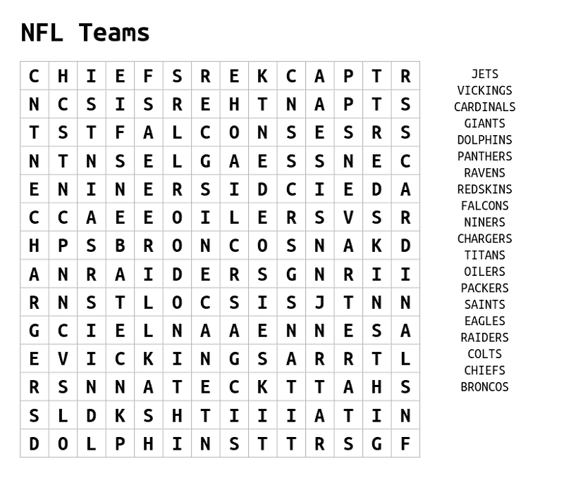 nfl word search printable