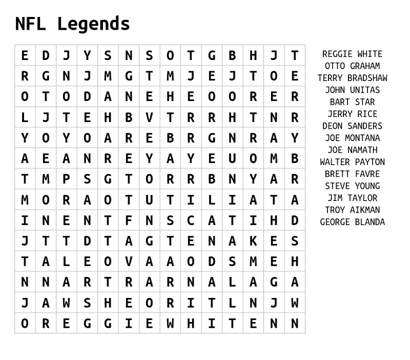 nfl word search sheet