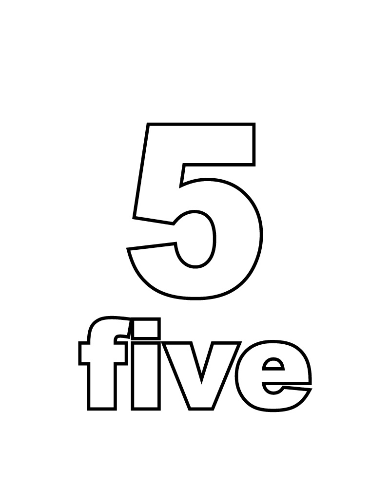 picture of the number 5 to color