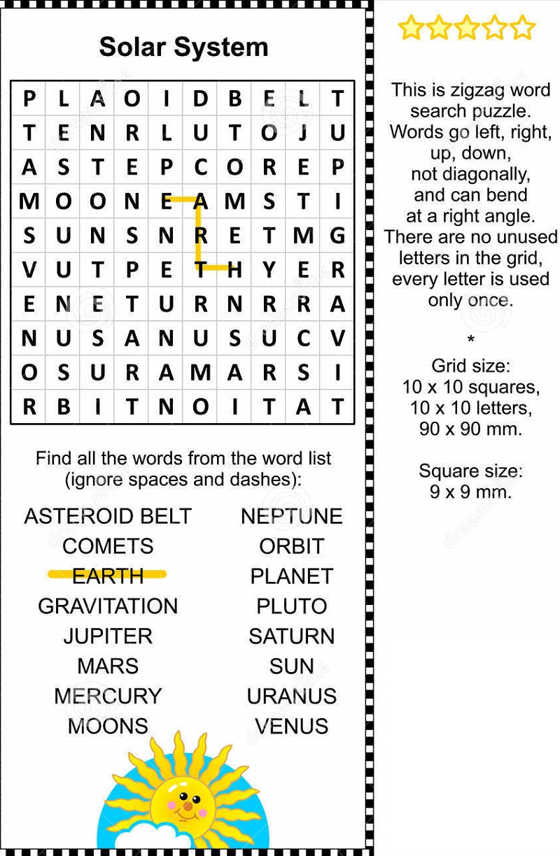 solar system wordsearch practice