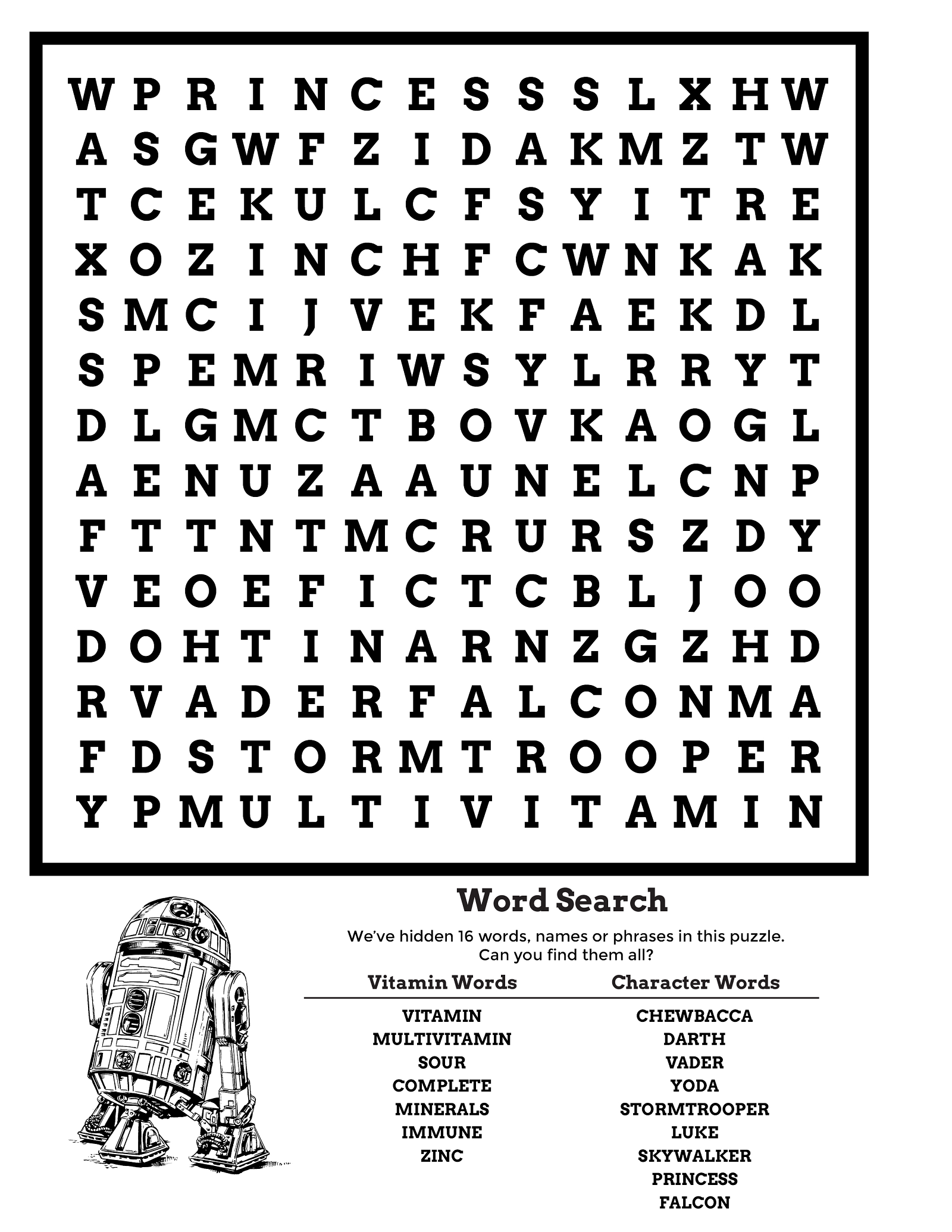 star wars word search activity