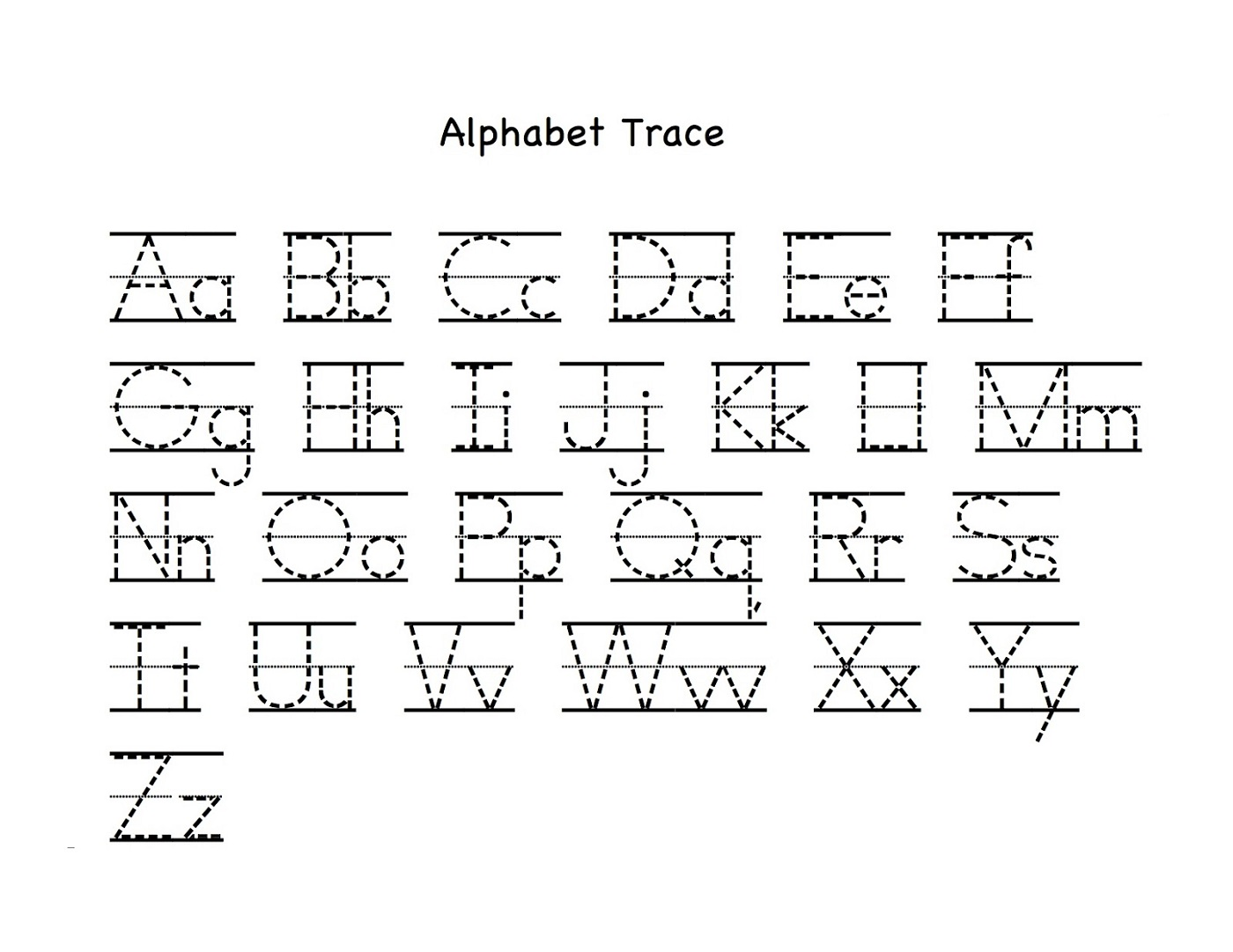 trace the letters alphabet