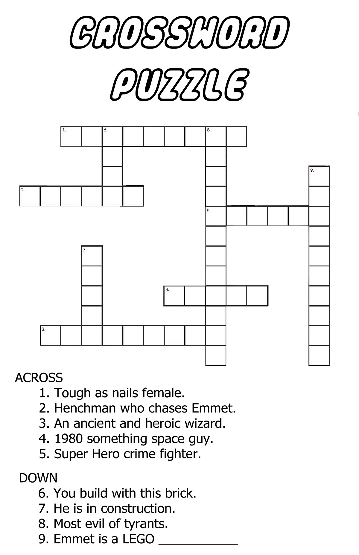 very easy crossword puzzles printable