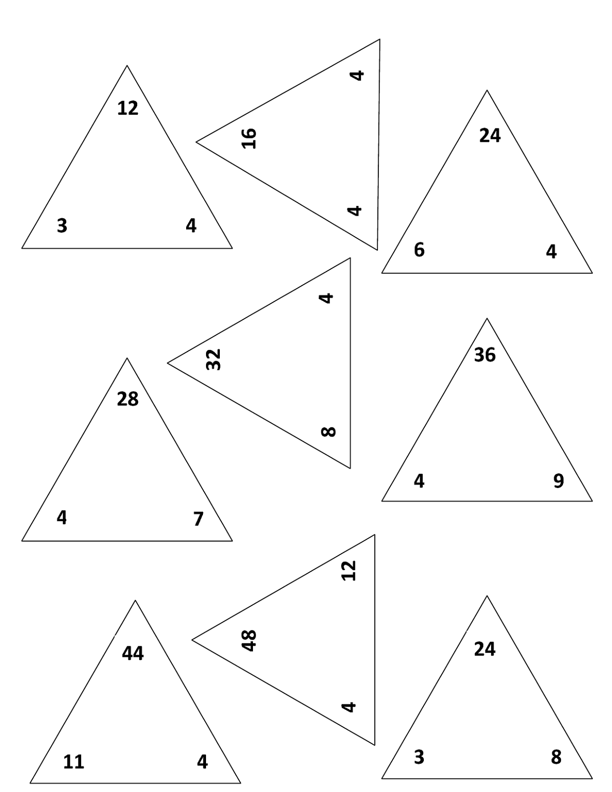 fact triangle worksheets activity