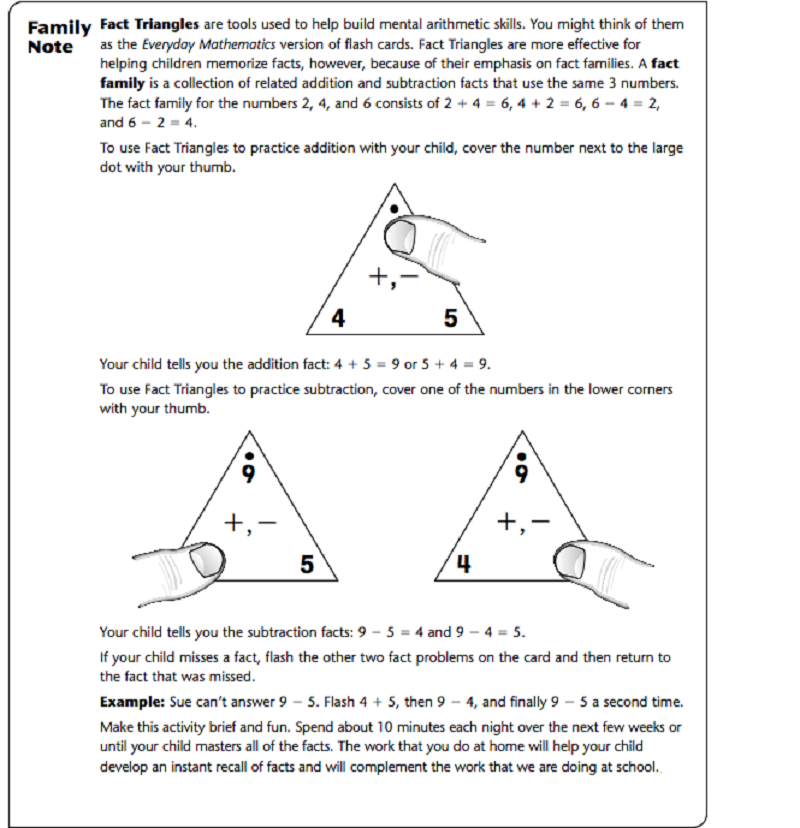 fact triangle worksheets page