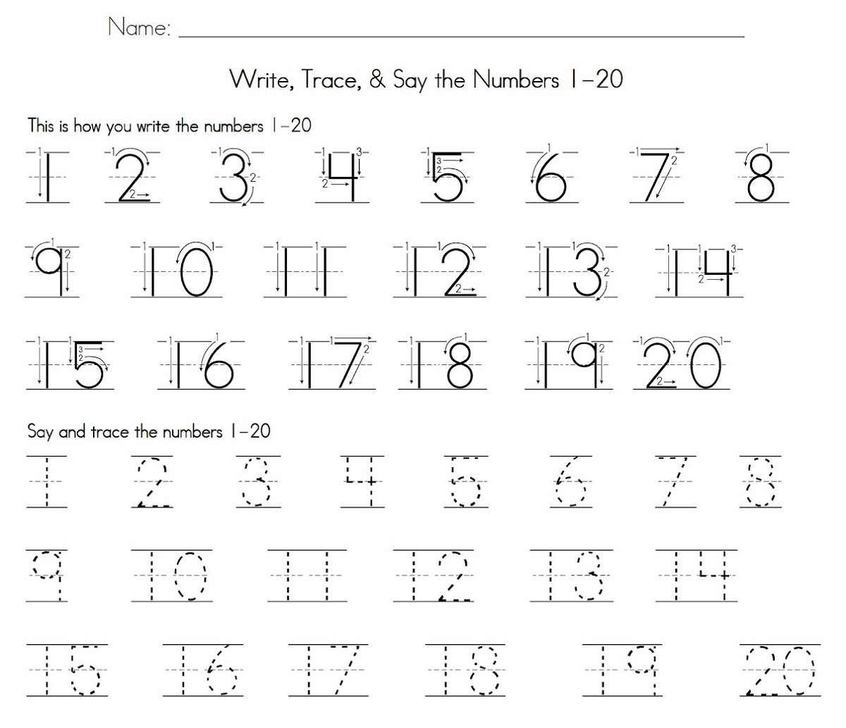 number tracking worksheet 1 to 20 practice