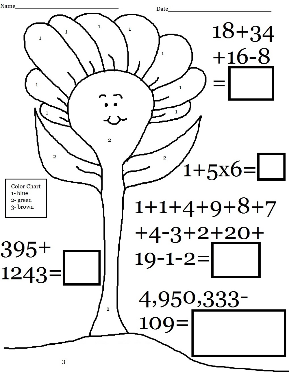 pictures of math worksheets coloring