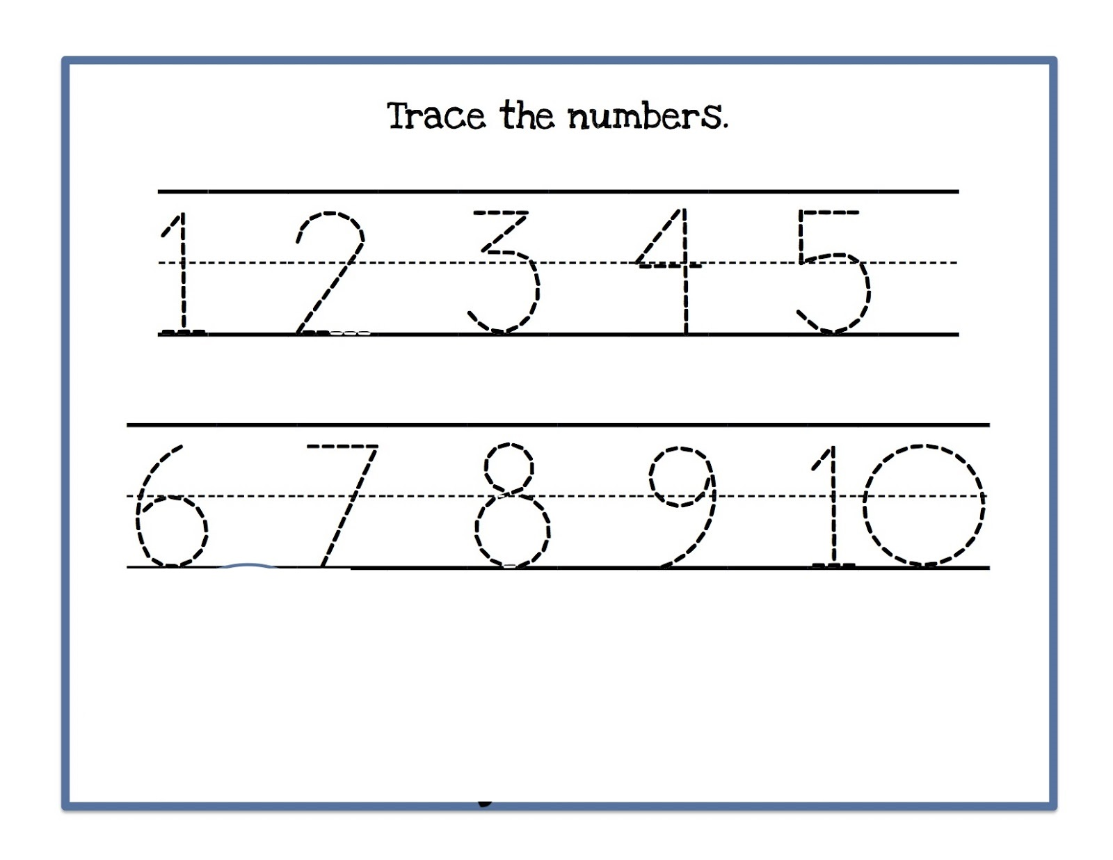 trace numbers 1-10 for kids