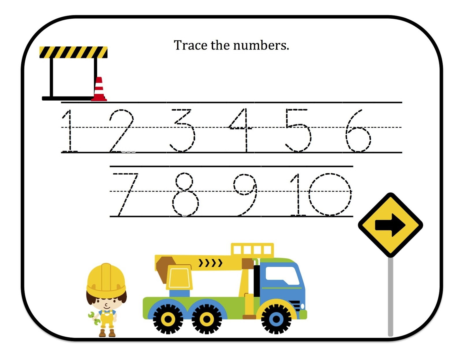 trace numbers 1-10 page