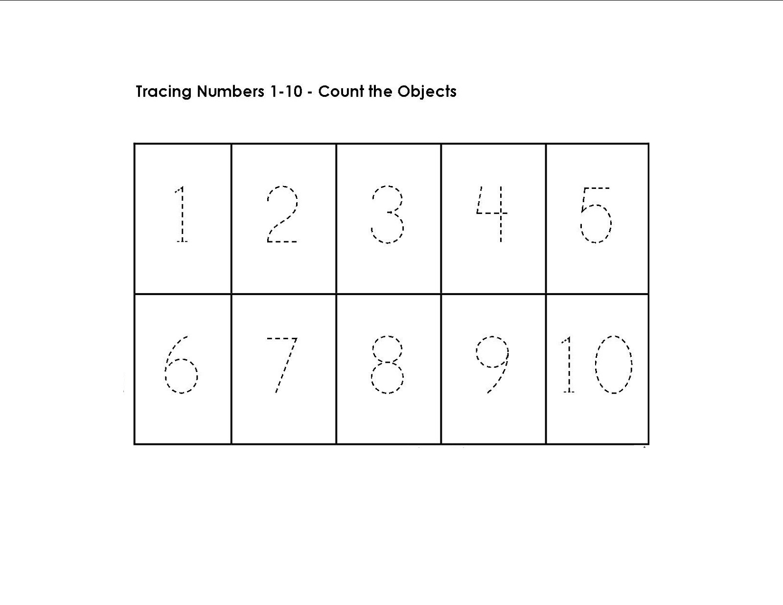 trace numbers 1-10 printable