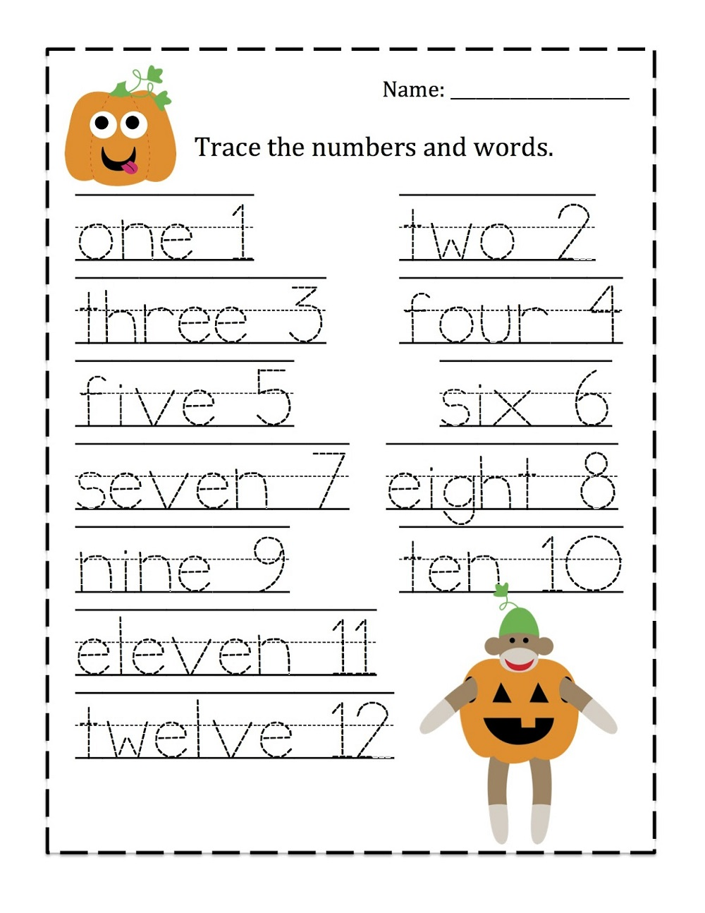 trace numbers 1-10 words