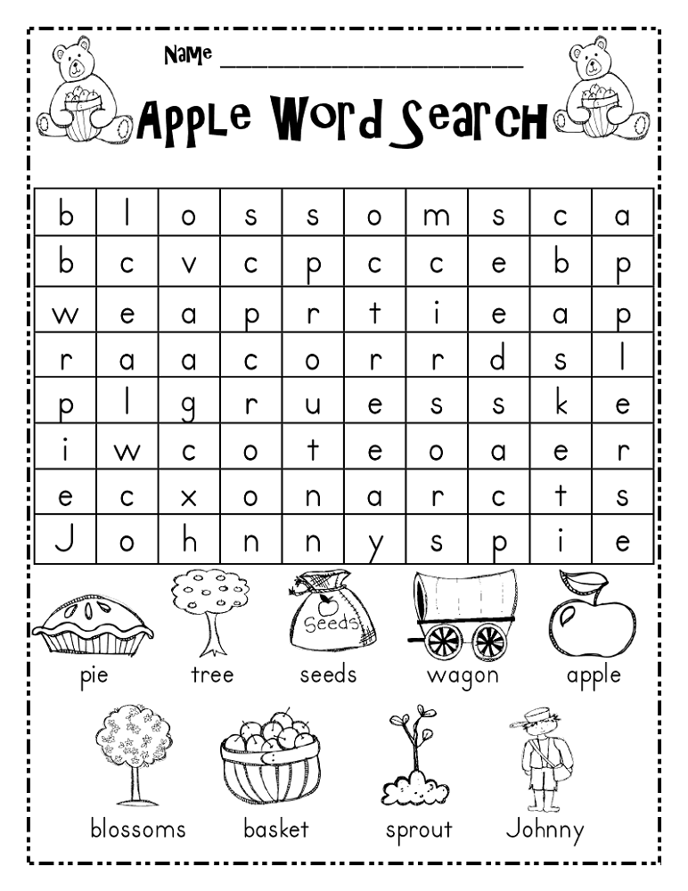 childrens word search apple
