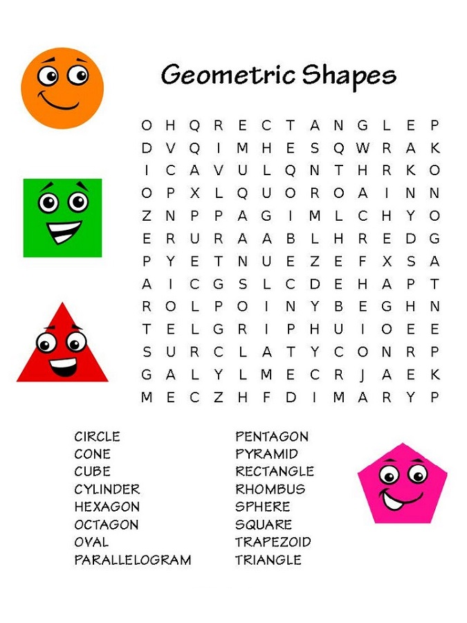 childrens word search shape