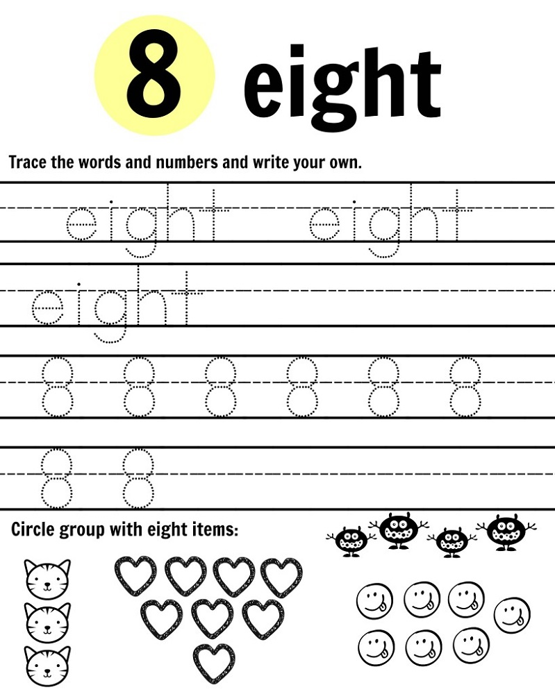 number 8 worksheet printable