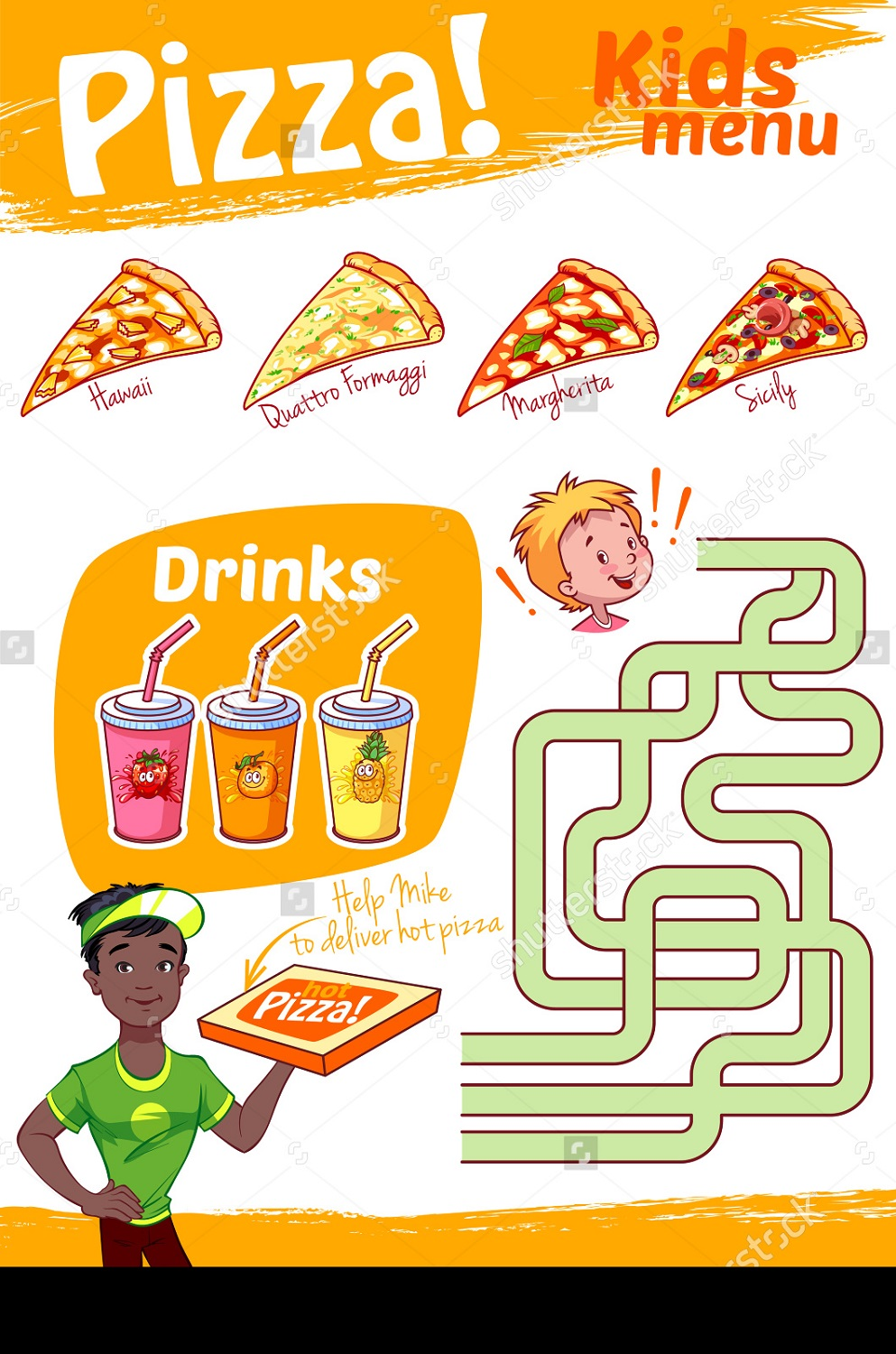 pizza maze for kids worksheet