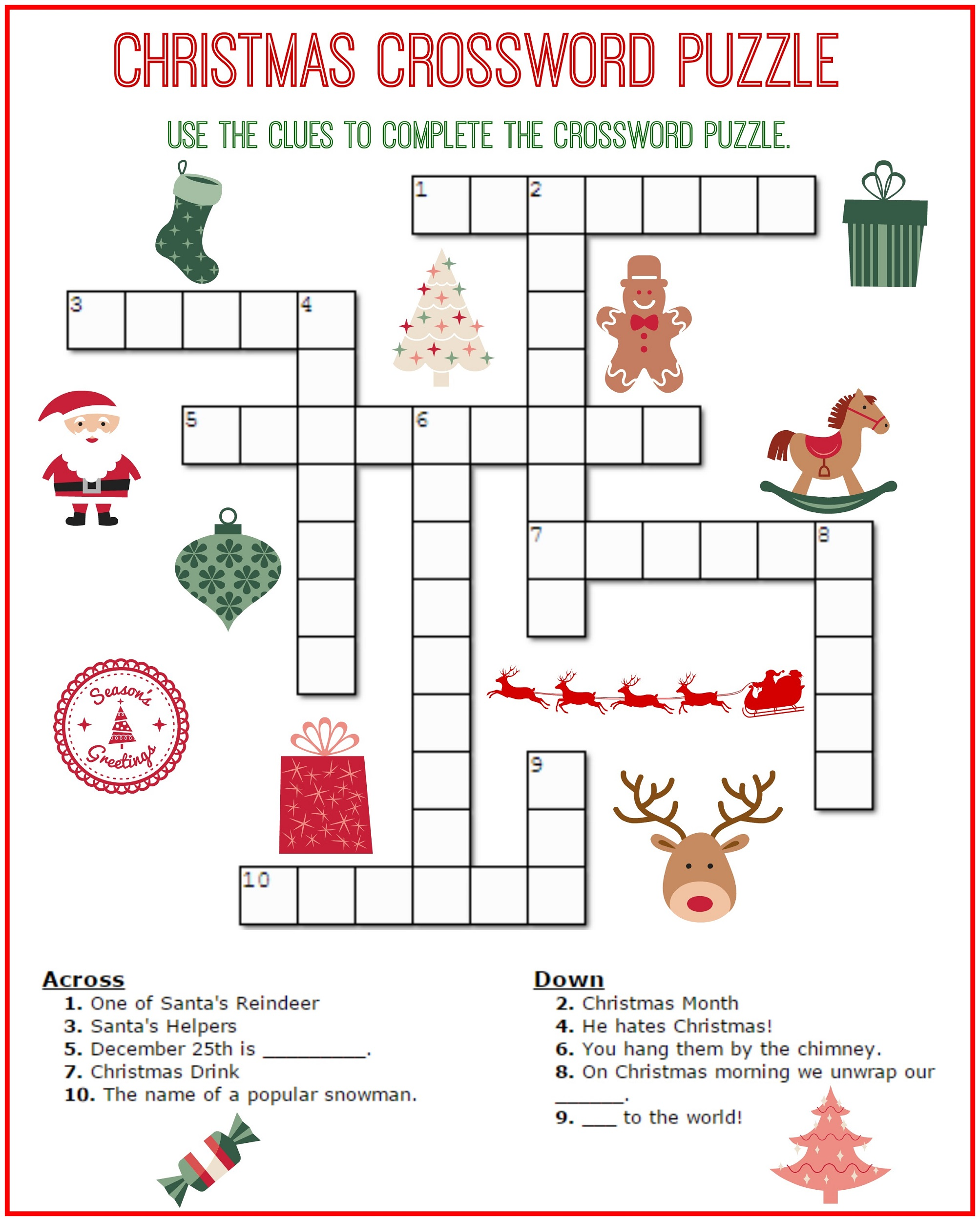 crossword puzzle kids printable