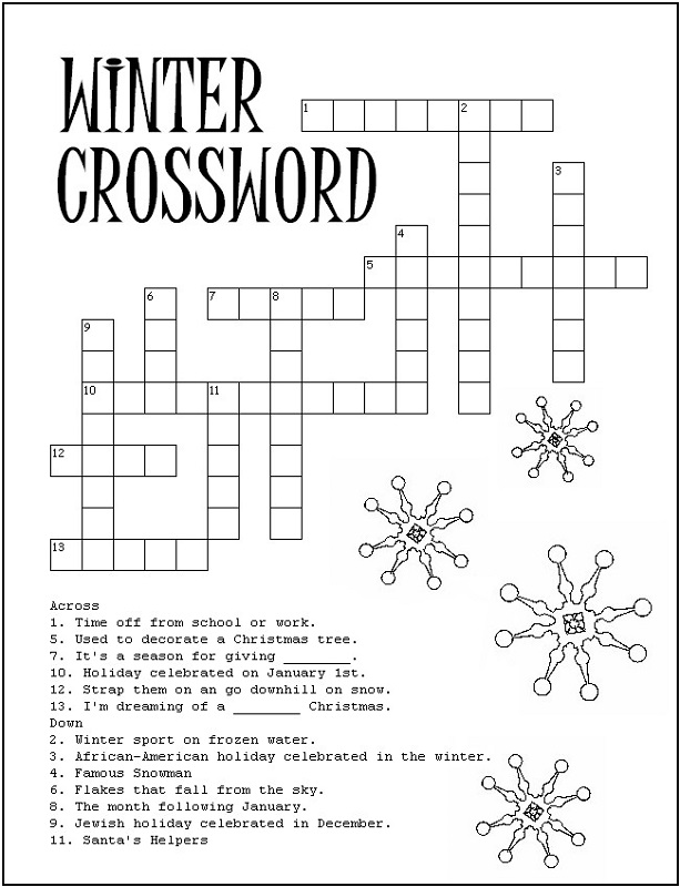 crossword puzzle kids winter