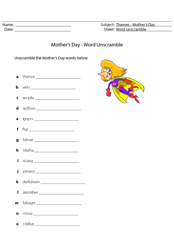 word scramble worksheet mothers day