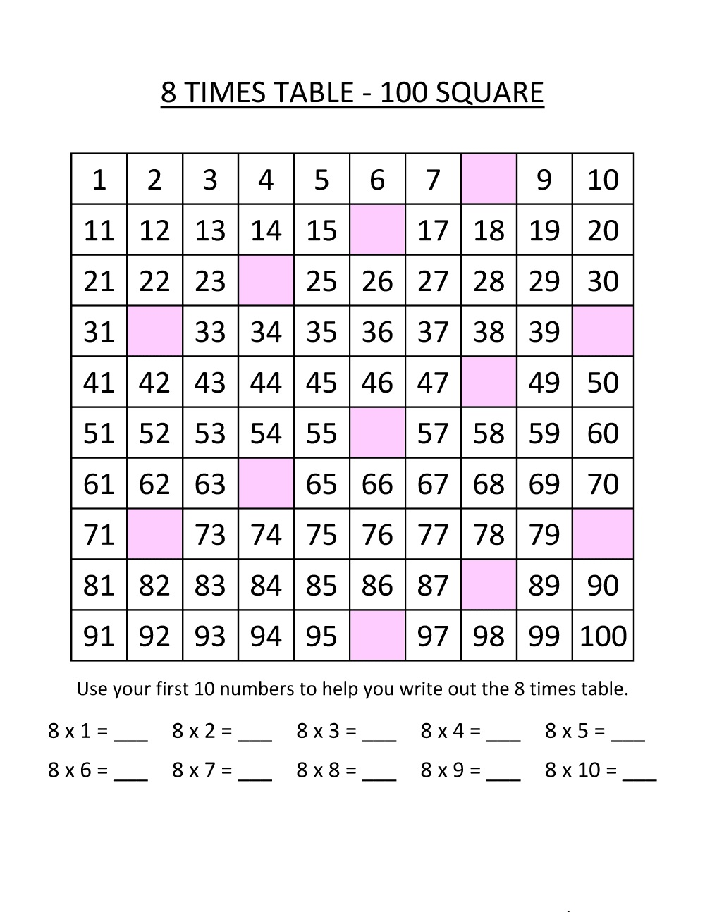 8 times tables worksheets activity
