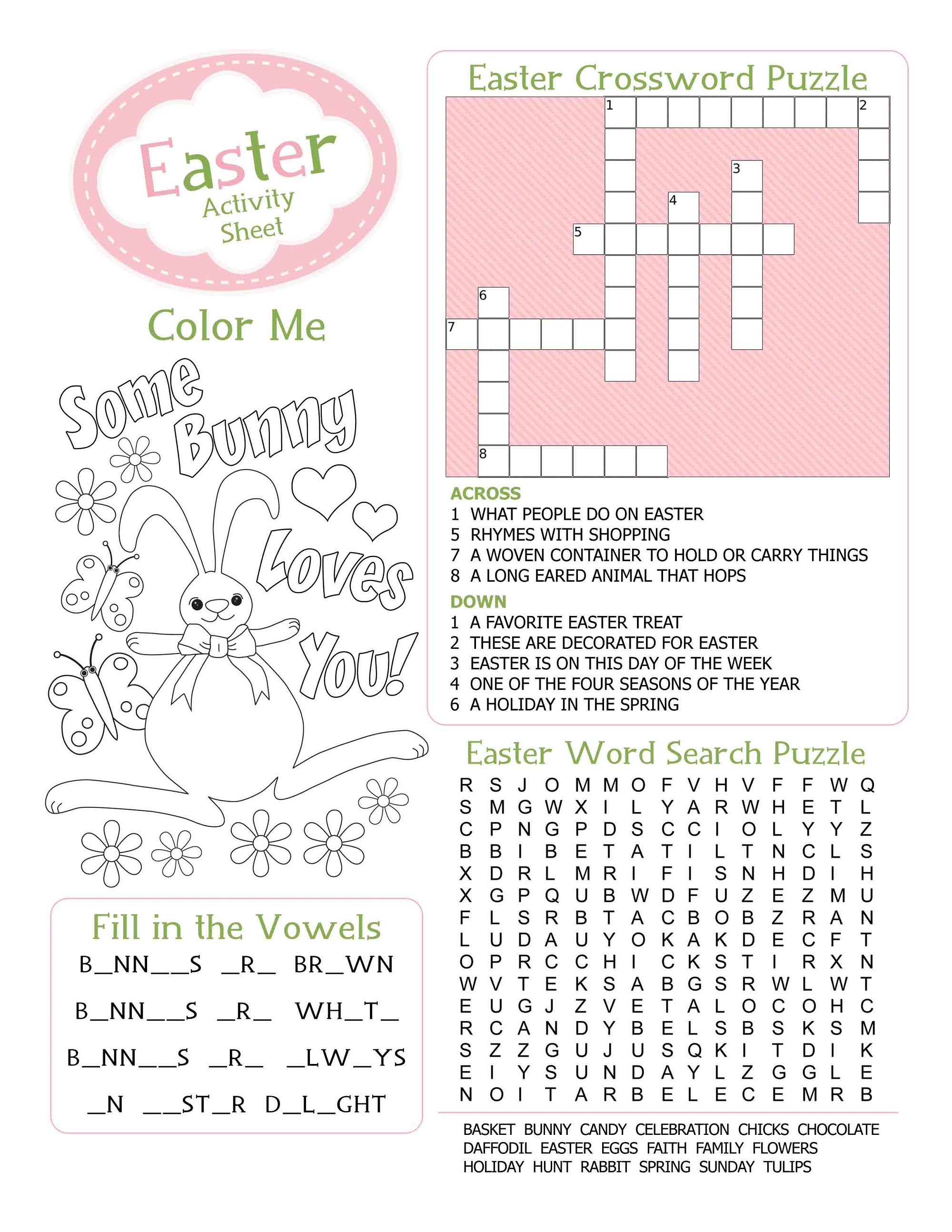 Easter Kid's Activity Sheet Free Printable