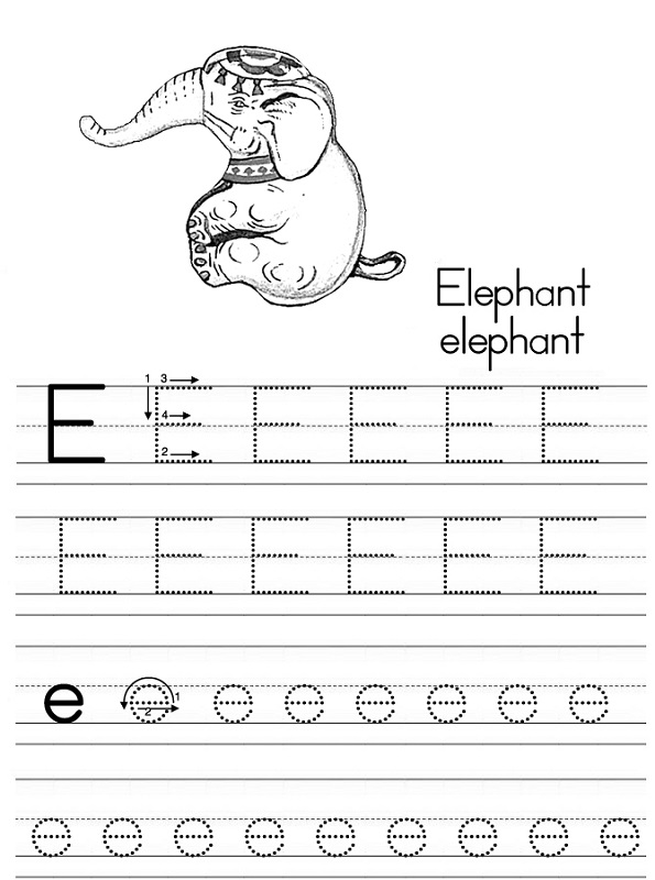 letter tracer pages elephant