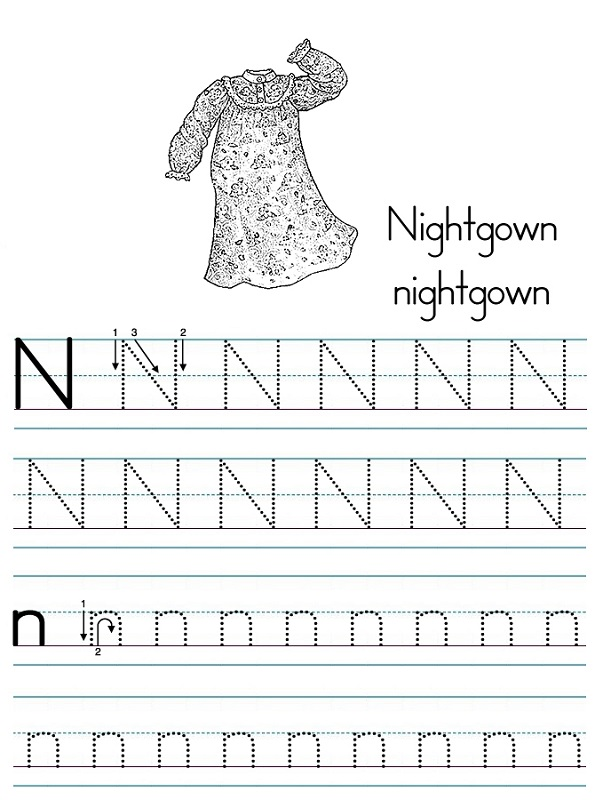 letter tracer pages nightgown