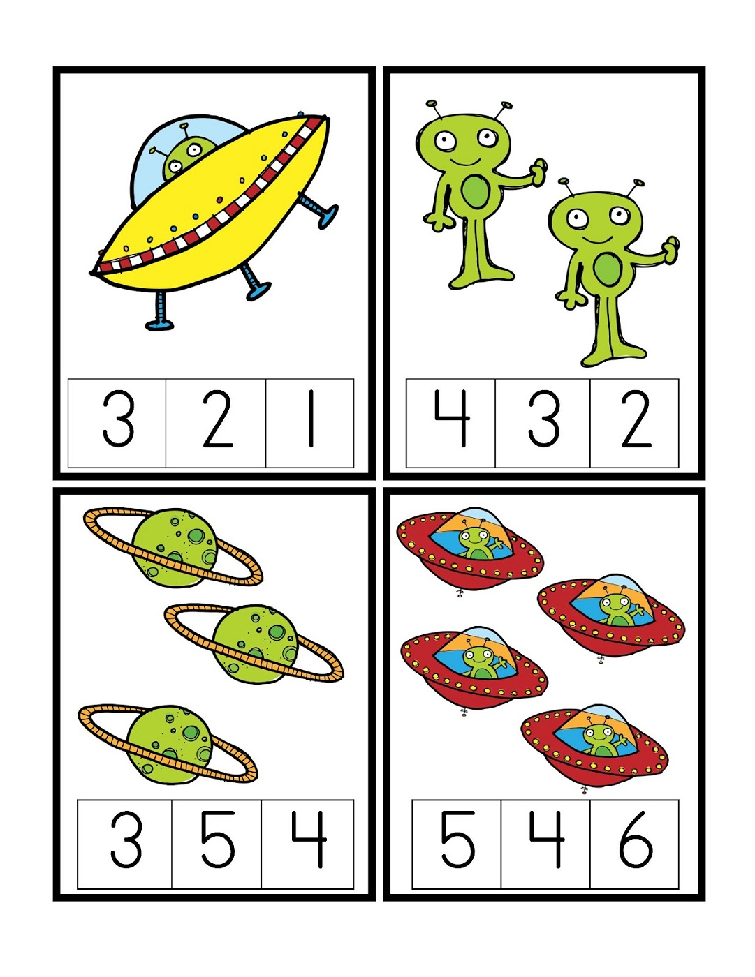 outer space worksheets count