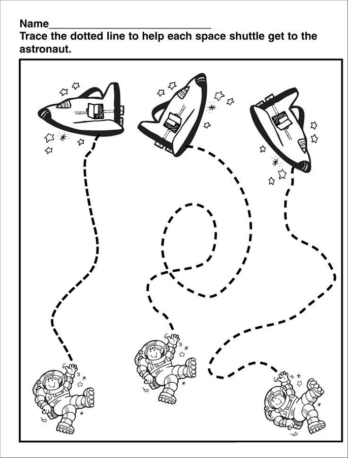outer space worksheets trace