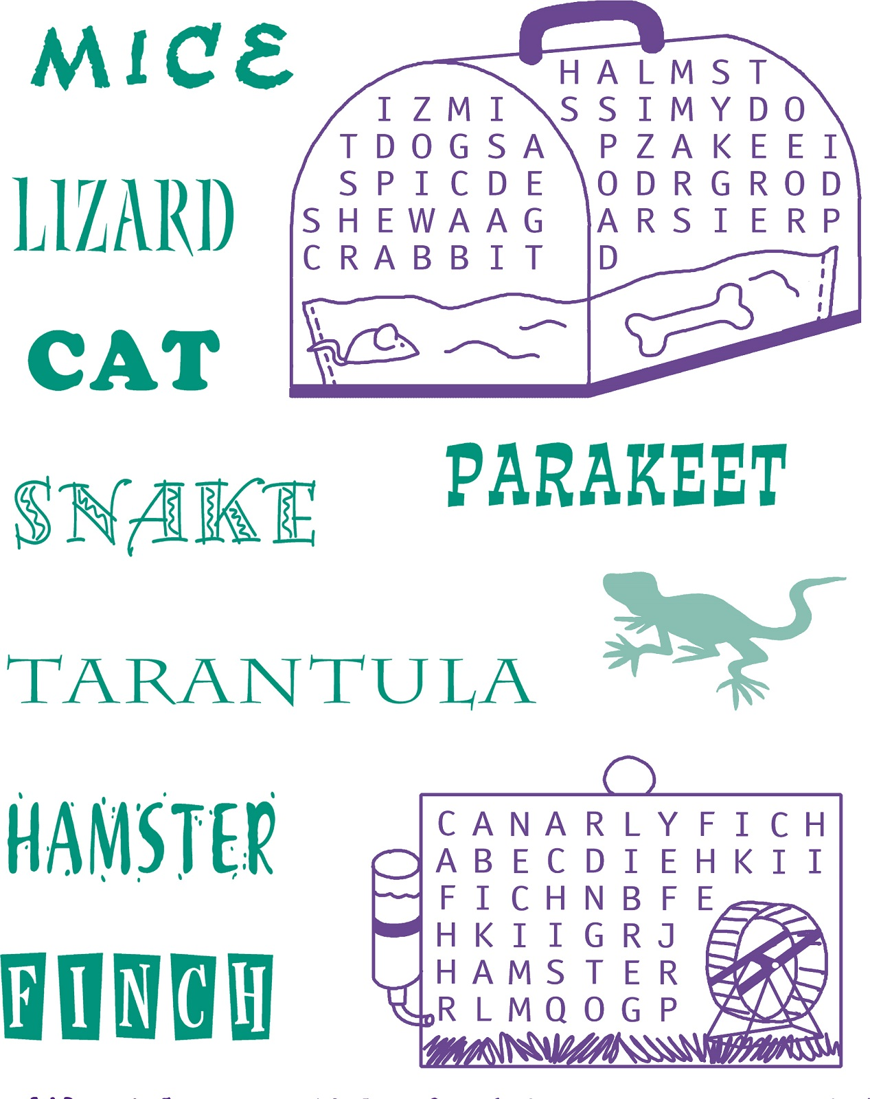 pet word search simple
