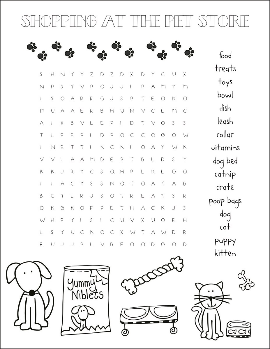 pet word search store