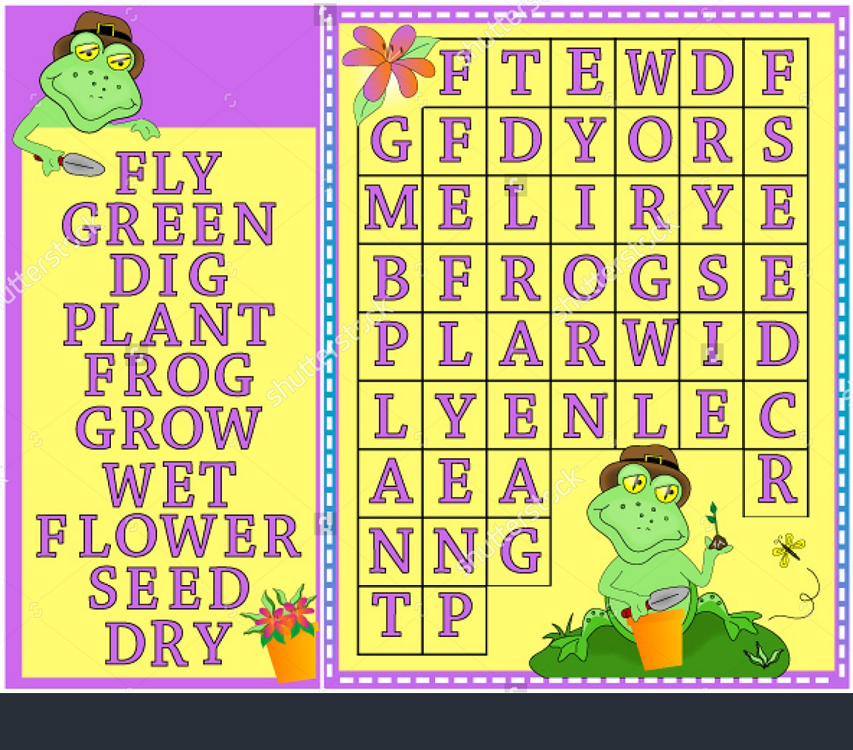 frog word search colorful