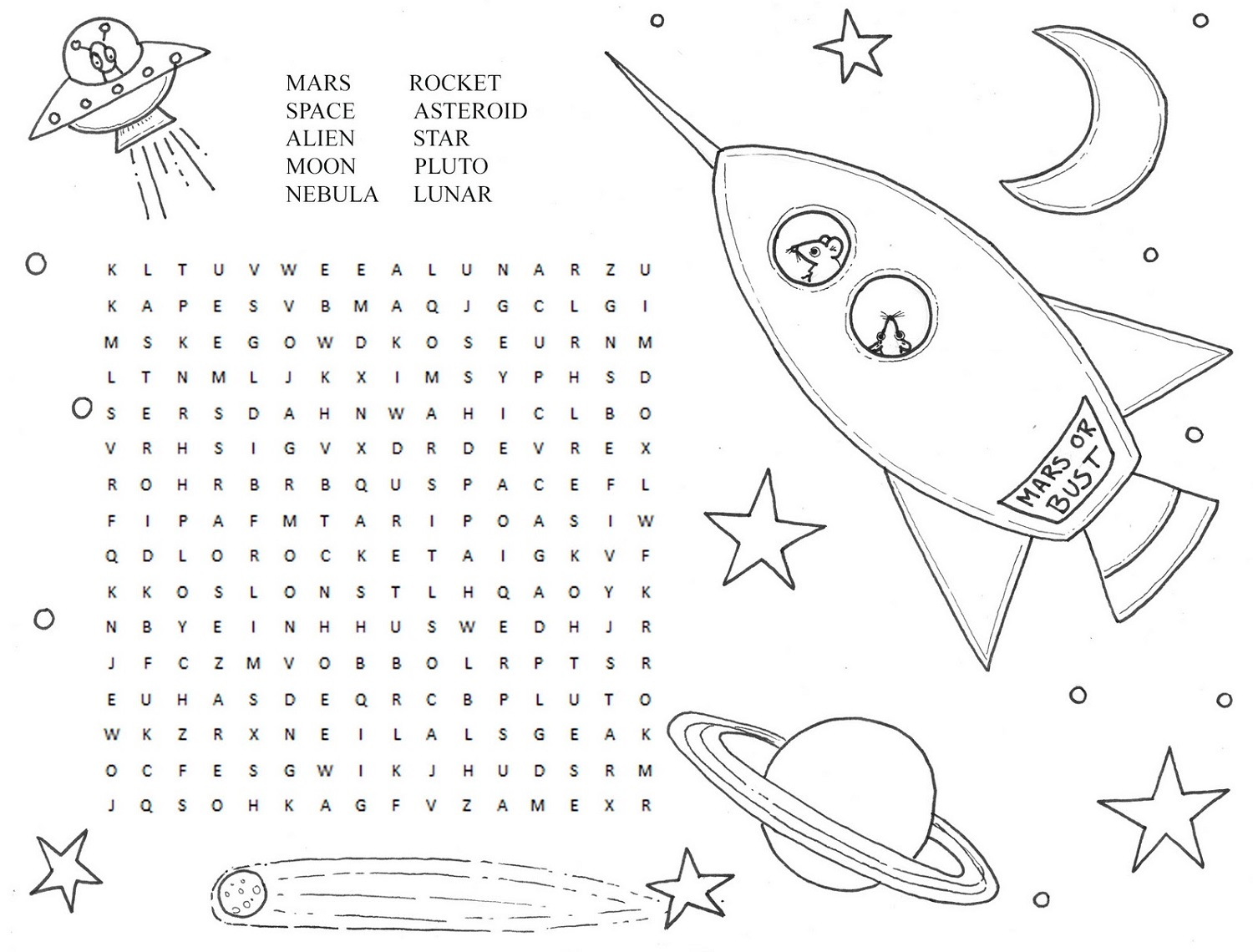 solar system wordsearch printable