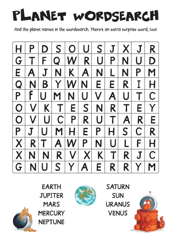 solar system wordsearch puzzle