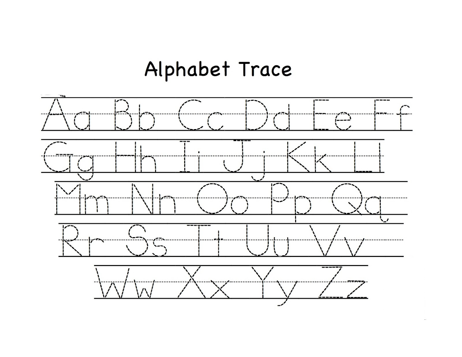 trace letters worksheet page
