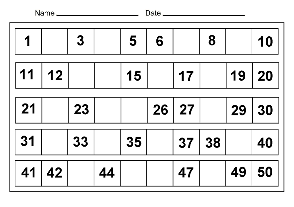 number chart 1-50 activity