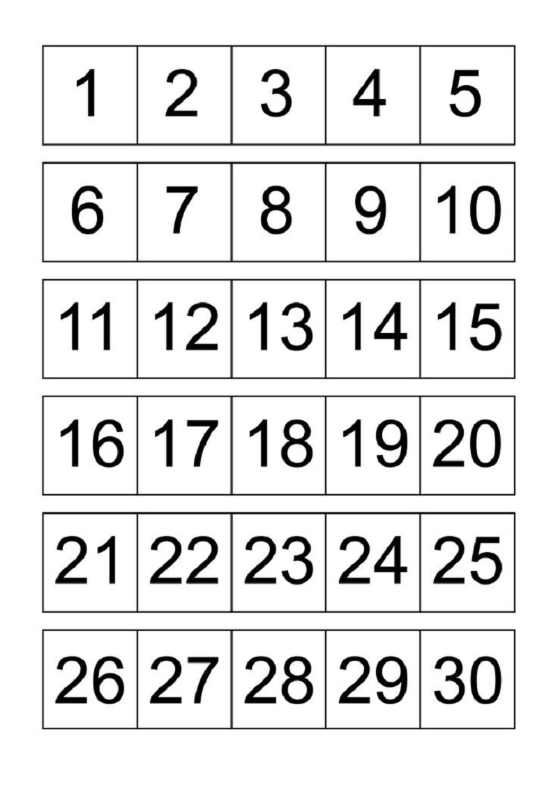 number chart 1-30 page