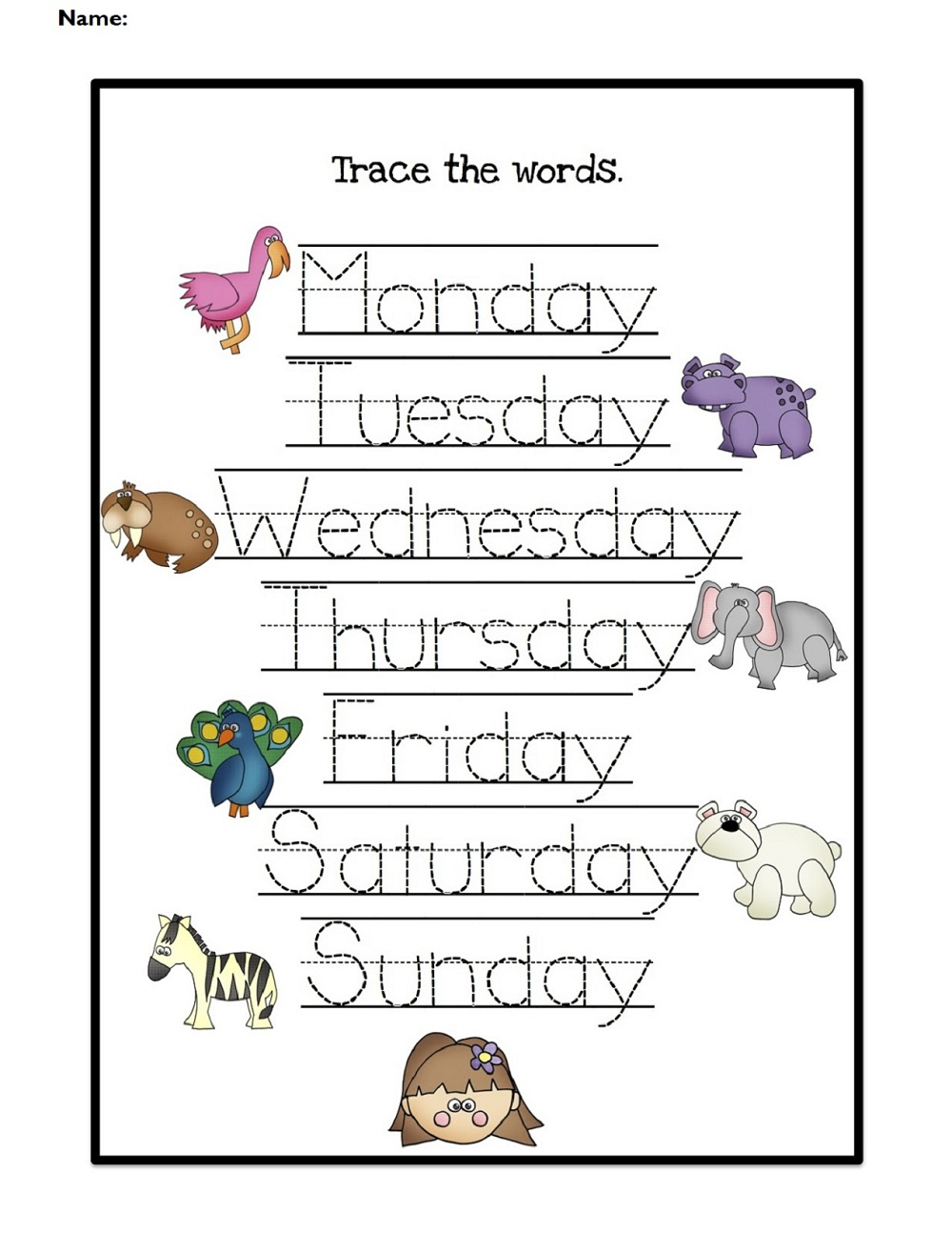 worksheets for days of the week for kids