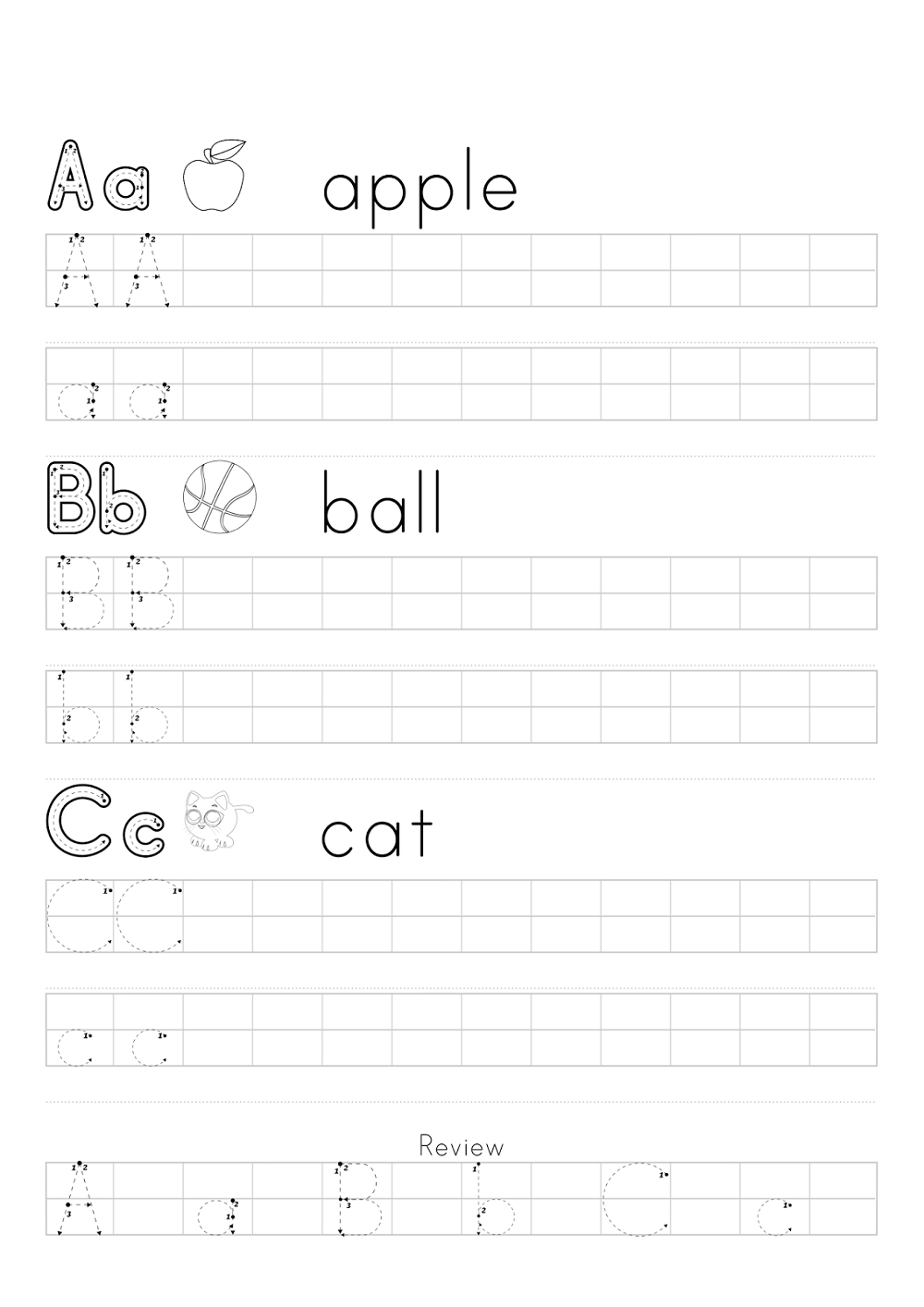 abc traceable worksheets practice