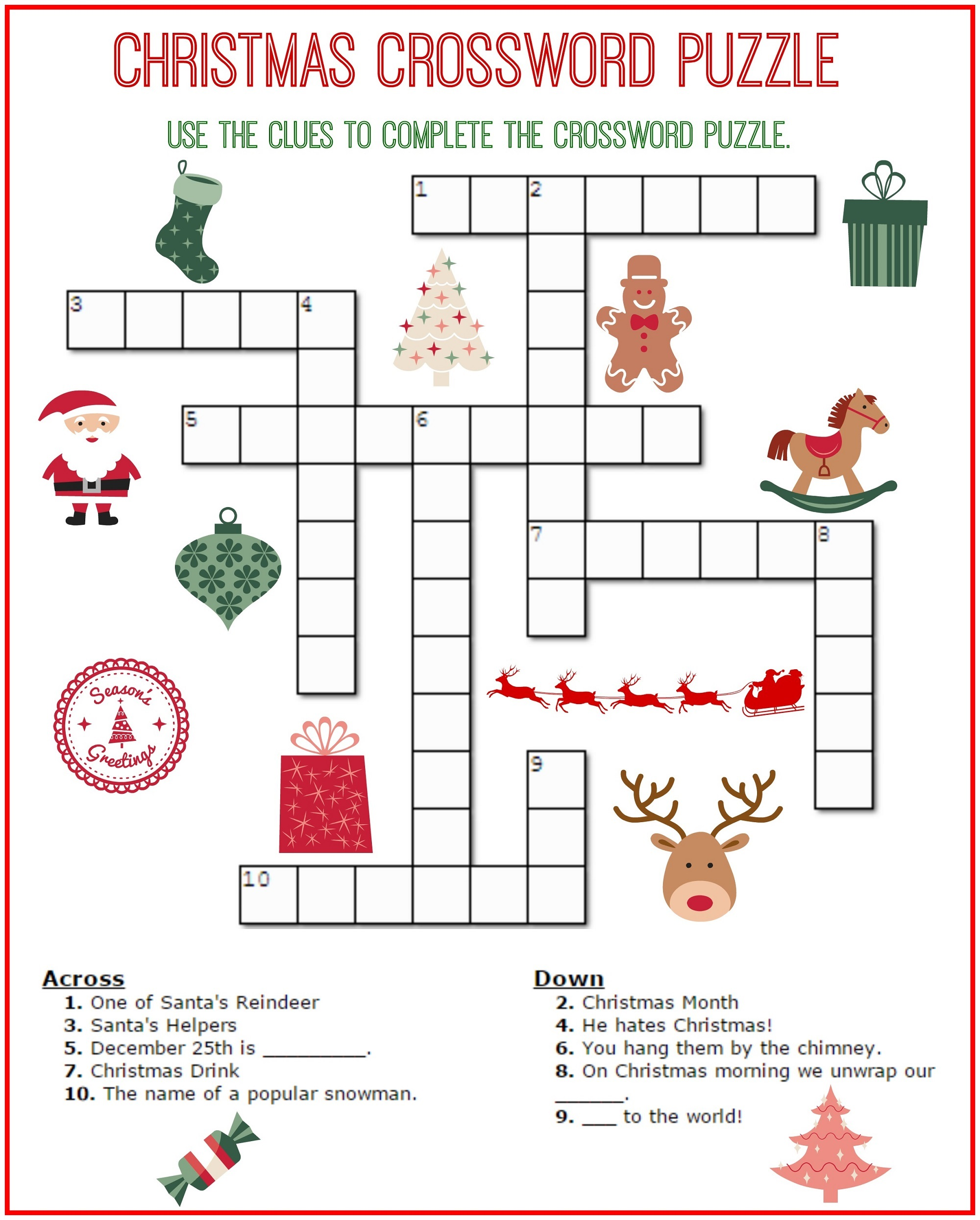crossword puzzles for children christmas