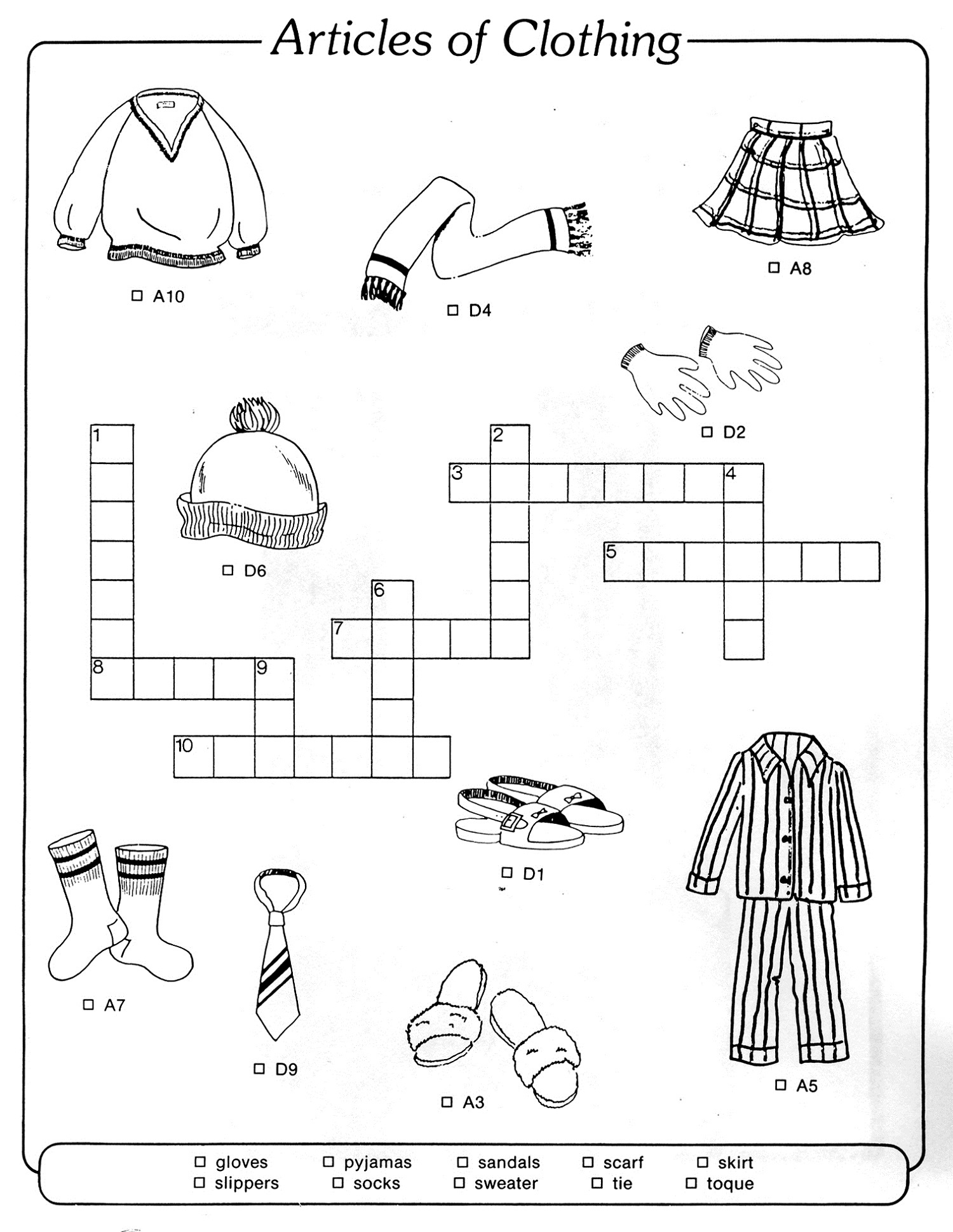 crossword puzzles for children worksheet