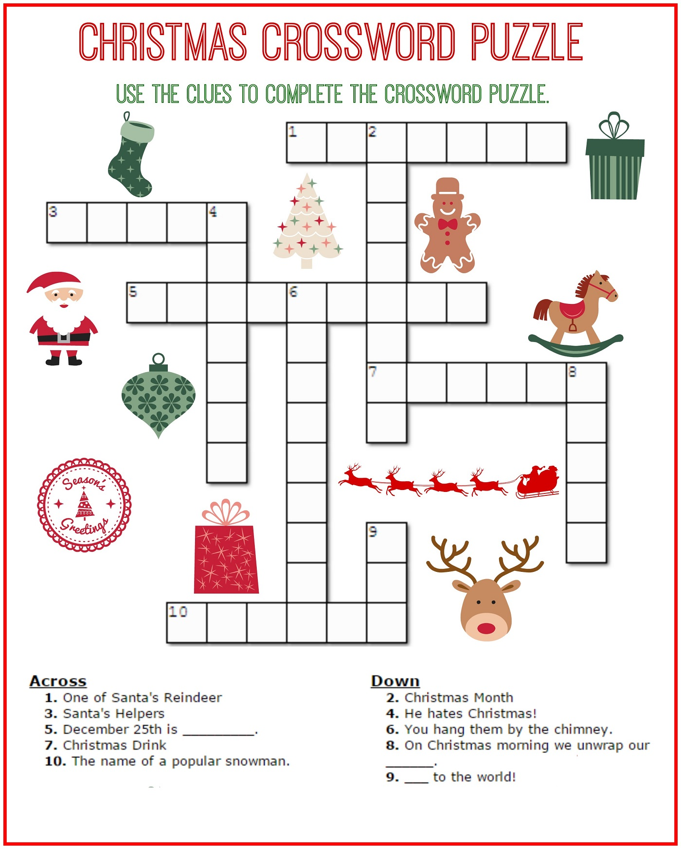 crossword puzzles for kids sheet